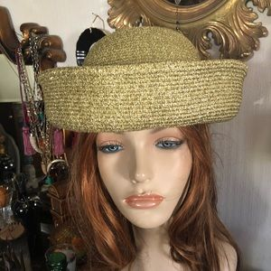 Vintage Gold Lame Molded Hat